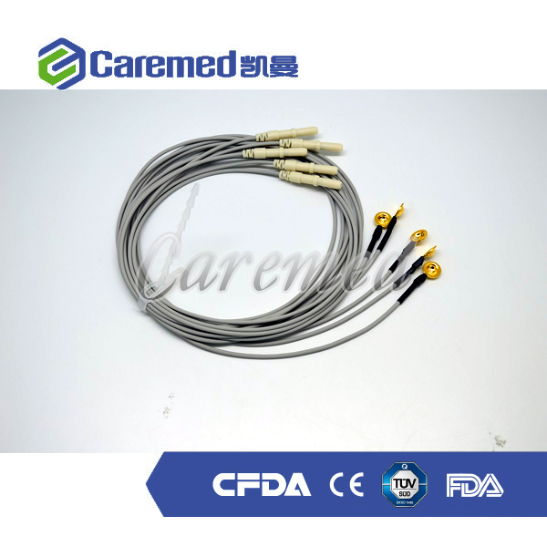 Gold plating copper EEG cable with eeg electrodes